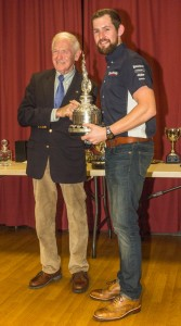 James receiving the Albert Scott Memorial Trophy from the great Sammy Miller MBE