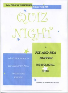 RMC Quiz Night Pie & Pies 11th Sept